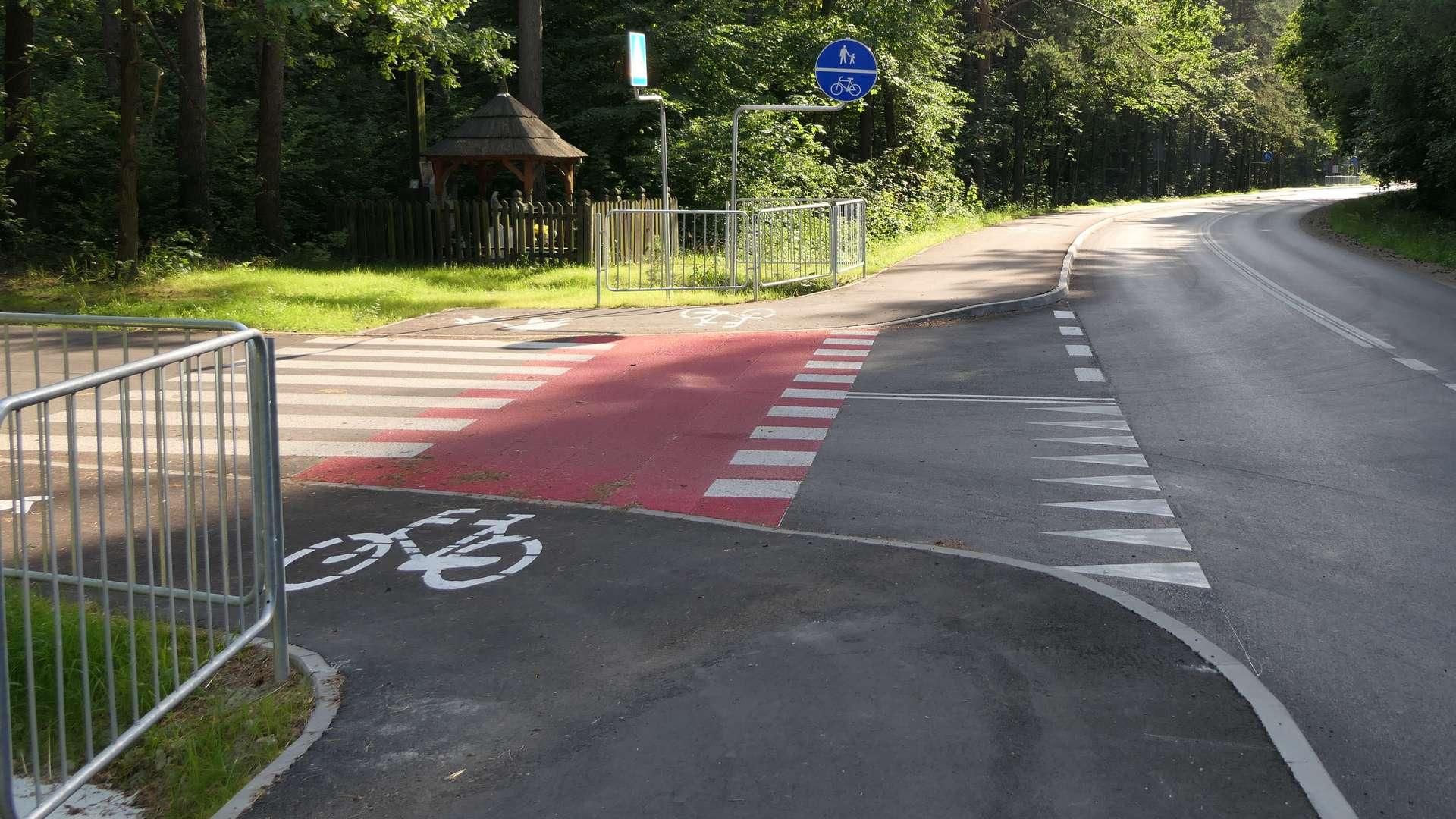 Trasa rowerowa poprowadzona wzdłuż drogi samochodowej.
