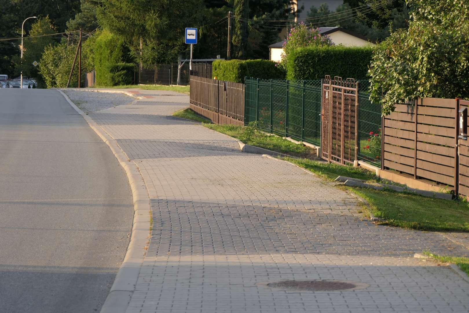 Fragment ścieżki wzdłuż ul. Frysztackiej, ciągnący się od przejazdu kolejowego obok PPG do granic Pogwizdowa.