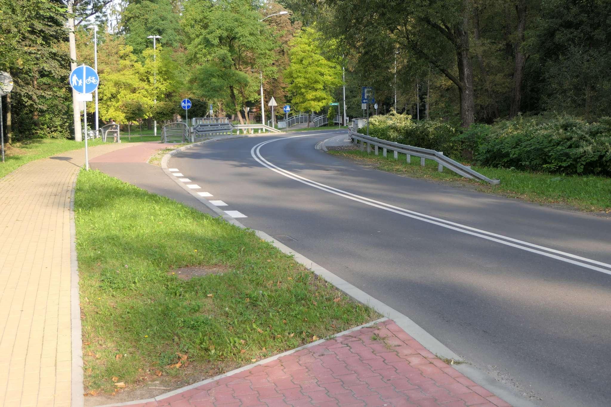 Początek DDR na al. Łyska od strony Puńcowa. Rowerzysta widzi znak nakazu, ale nie może wjechać na drogę rowerową, ponieważ zabrania mu tego podwójna linia ciągła.