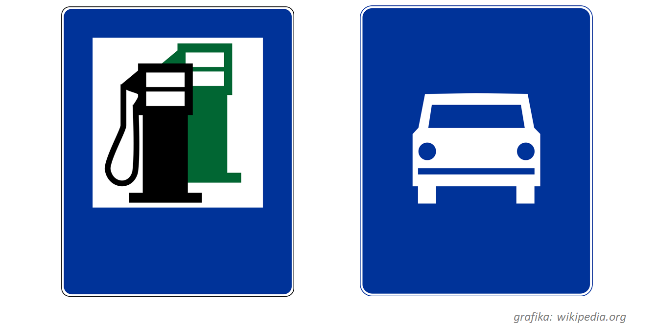 """Do kategorii znaków informacyjnych należą na przykład znak D-7 """"droga ekspresowa"""" oraz znak D-23 """"stacja paliwowa"""""""