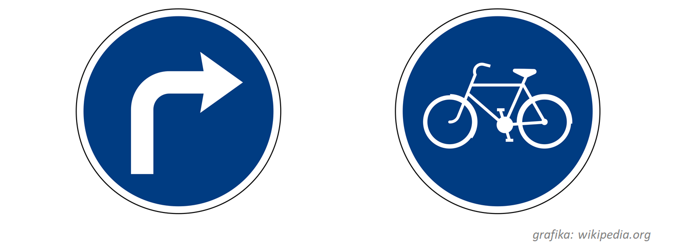"""Znaki C-2 """"nakaz skrętu w prawo i C13 """"droga dla rowerów"""" należą do tej samej kategorii znaków nakazu, a więc zobowiązują uczestnika ruchu do poruszania się w określony sposób – we wskazanym kierunku lub po wskazanym pasie."""