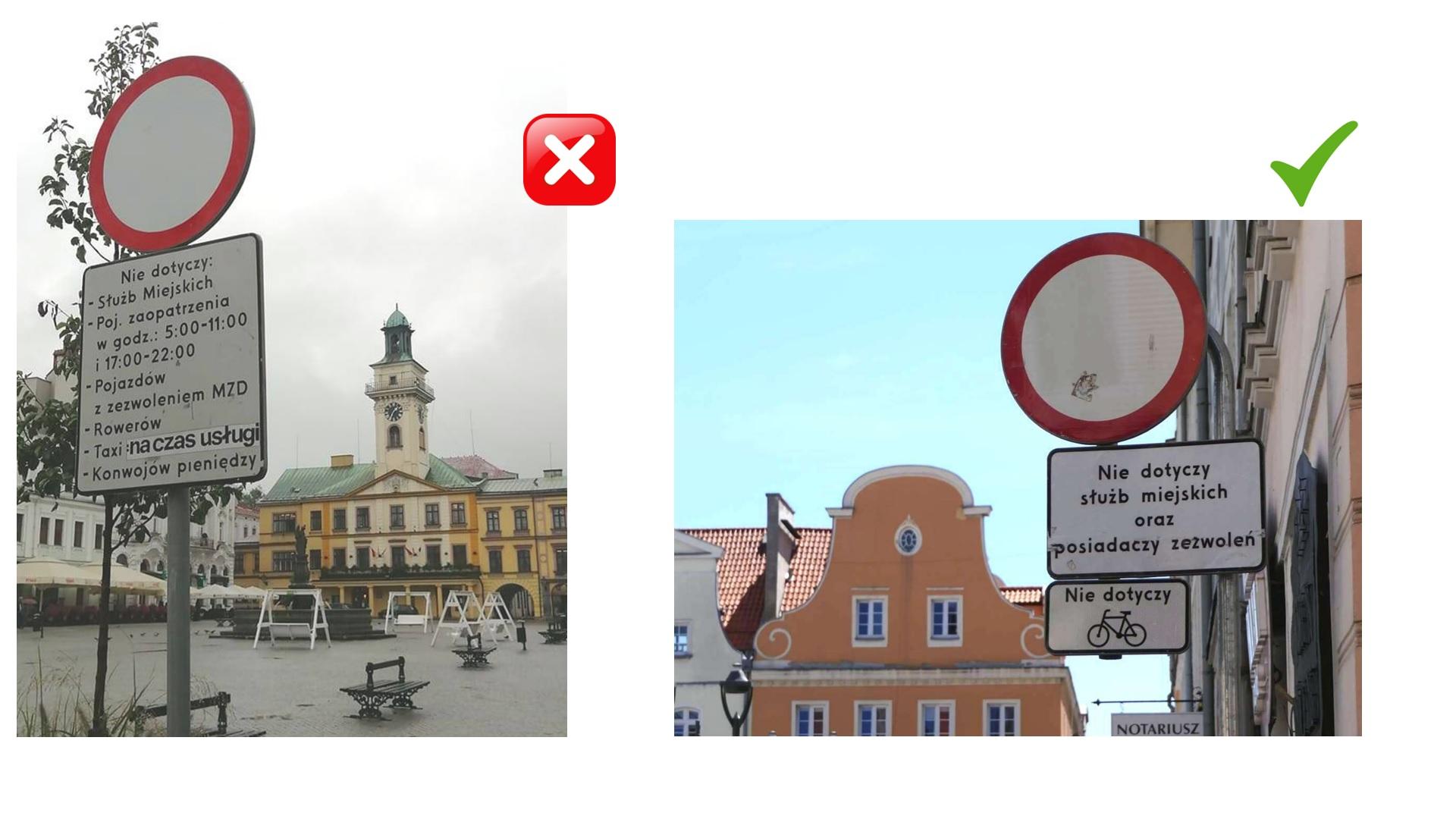 Zamiast mało widocznego wpisu na długiej litanii wyłączeń spod zakazu należy stosować piktogramowe tabliczki T-22. Po lewej cieszyński rynek, po prawej poprawne rozwiązanie na rynku w Gliwicach.