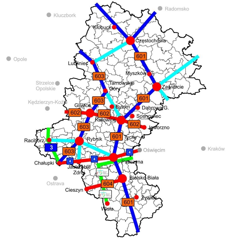 Propozycja numeracji regionalnych tras rowerowych na terenie woj. śląskiego.