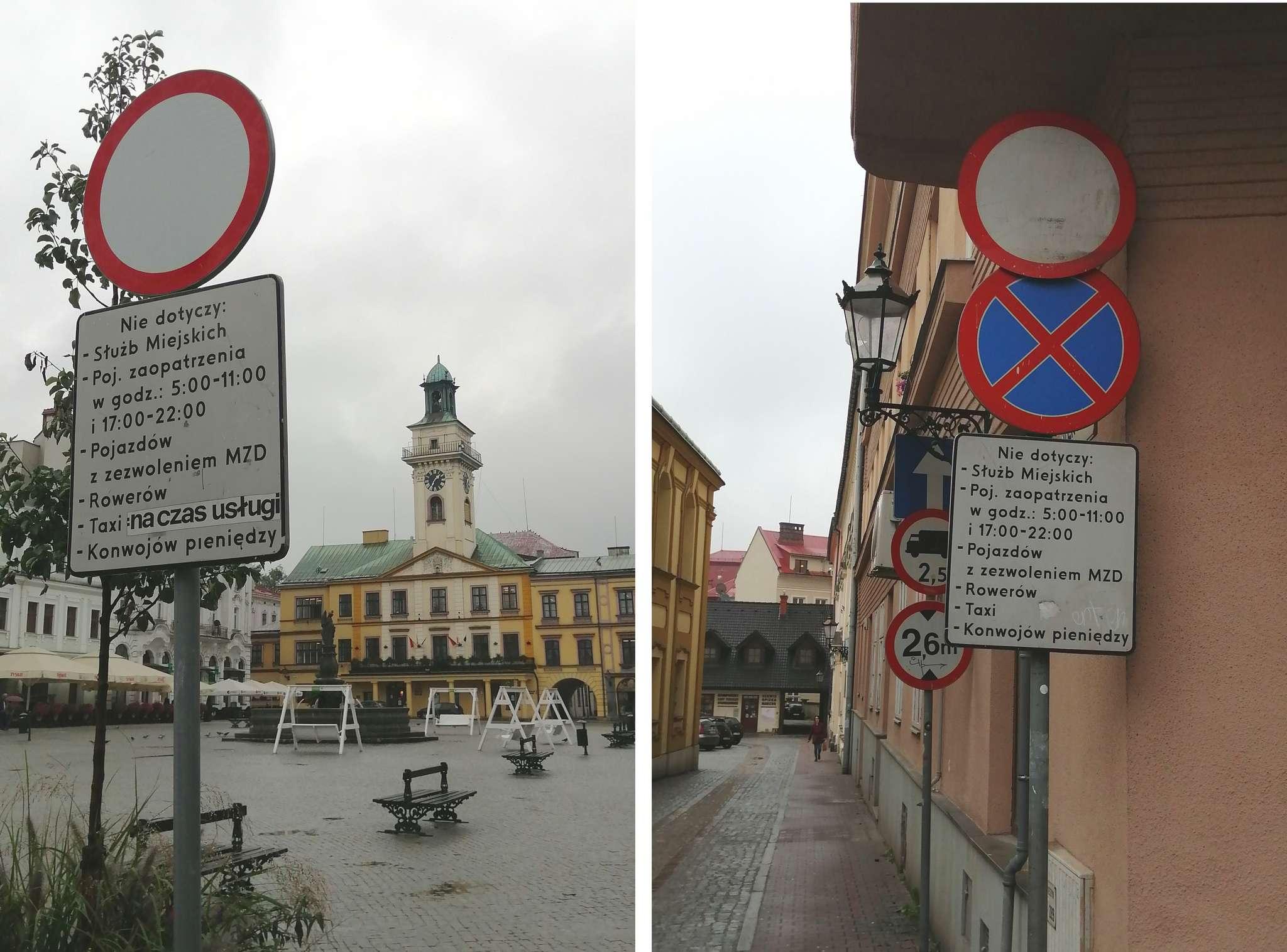 Wyłączenia umieszczone pod znakami zakazu wymagają uważnej lektury. Szczególnie kłopotliwe może to być dla obcojęzycznych rowerzystów.