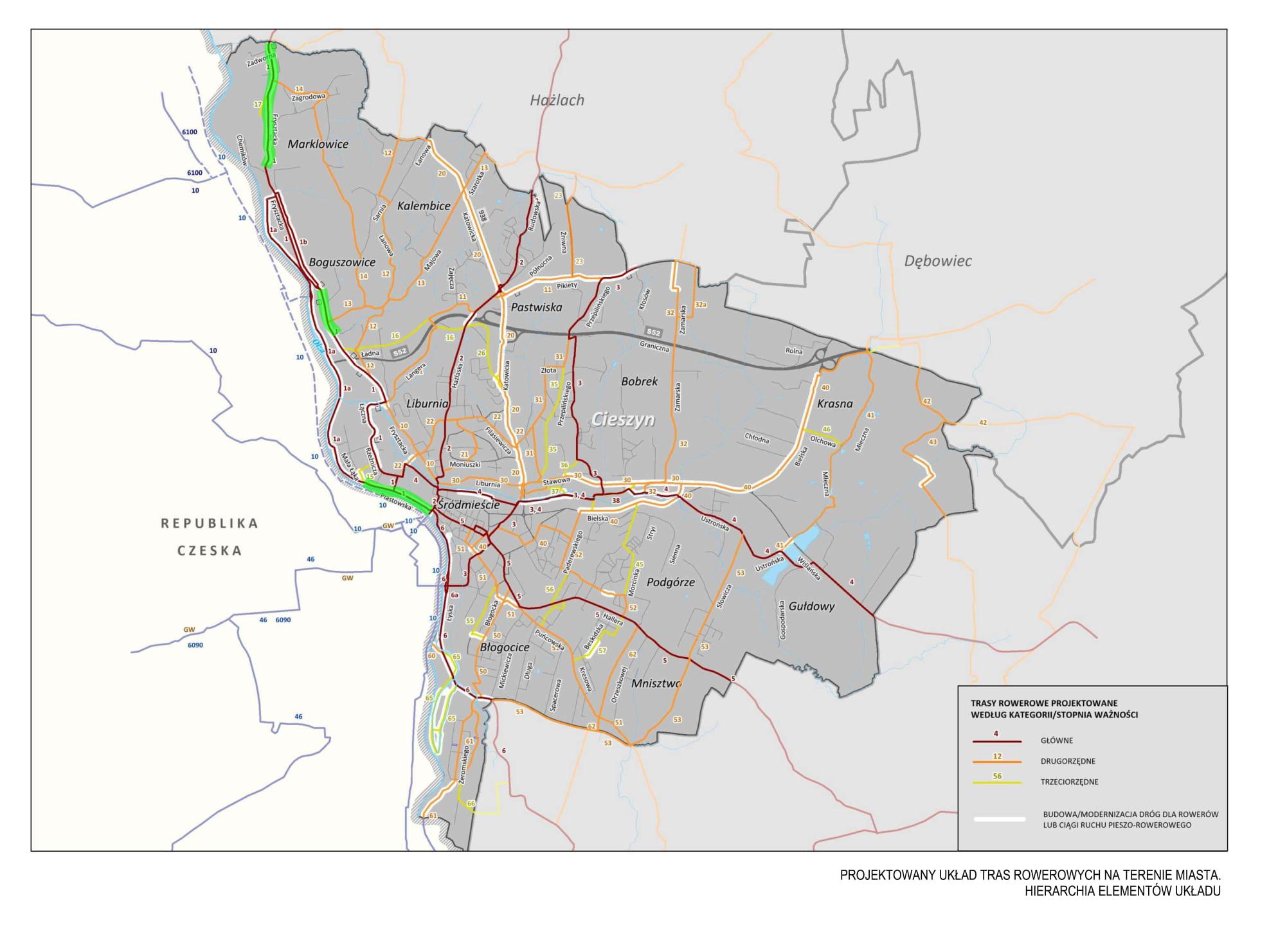 """Projektowany układ tras rowerowych na terenie miasta Cieszyna - Trasy rowerowe według kategorii. Źródło: """"Studium transportowe dla miasta Cieszyna"""" 2016."""